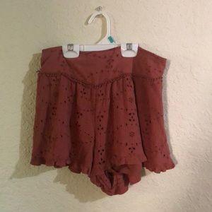 Burnt orange flowy shorts